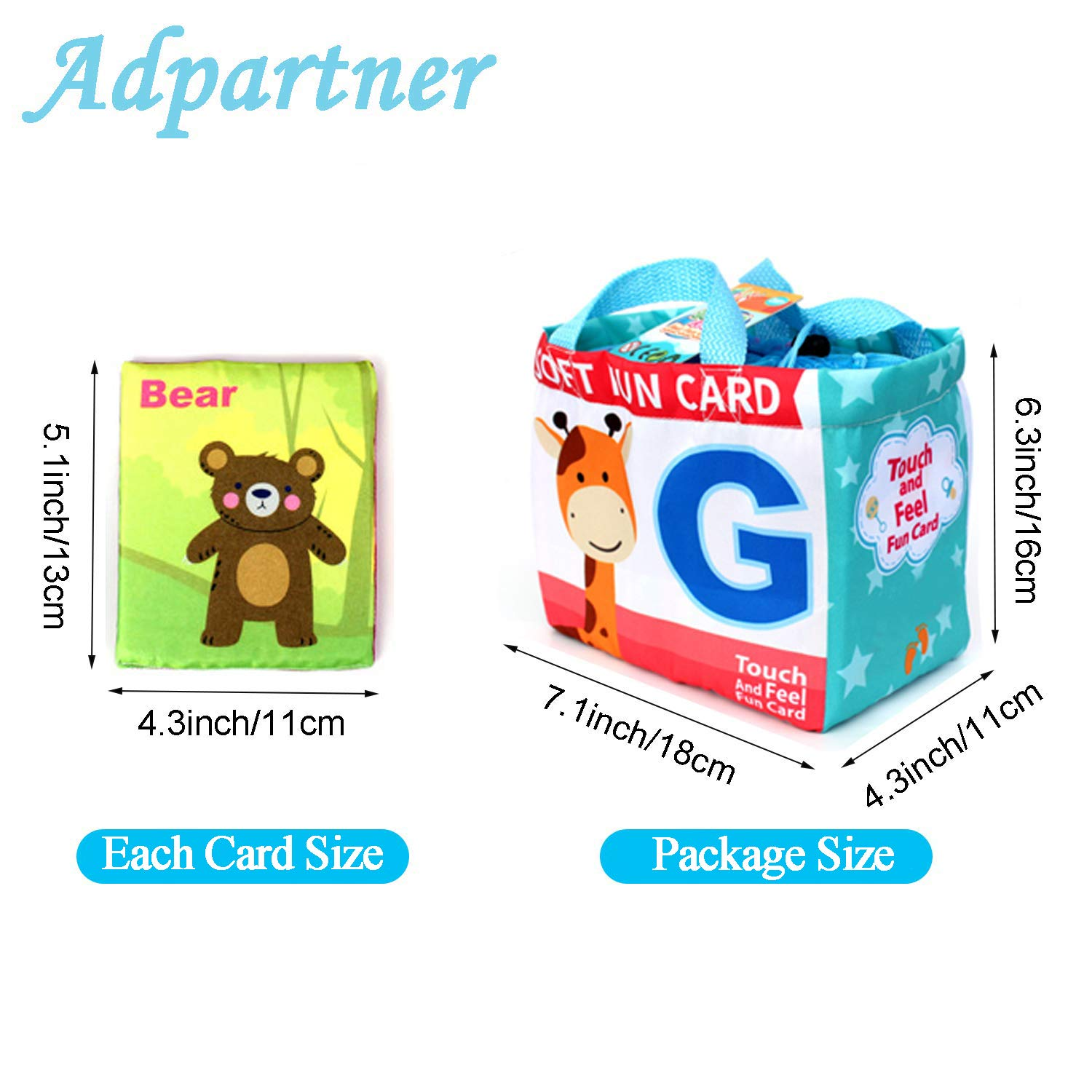 Washable Soft Cloth Toy for Toddlers Infants and Kids Baby Early Education Toy with Drawstring Bag Adpartner 26 Letters Cloth Cards