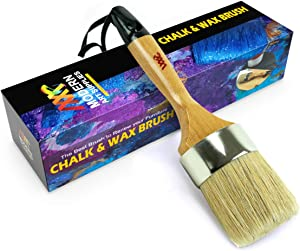 Chalk & Wax Paint Brush – Furniture Painting or Waxing - Milk Paint - Dark or Clear Soft Wax, Home Decor, Cabinets, Stencils & Woods Compatible with Annie Slone Chalk Paint & Wax