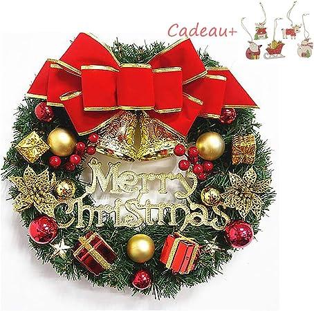 Ardentity Couronne Décoration de Noël, Couronne Cloche de Noel Guirlande de  Noël Artificielles Fait à Main, Couronne de Fleurs Idéal Déco Noël pour