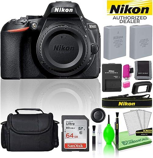 Nikon D5600 24.2MP DSLR Digital Camera (Body Only) (1575) USA Model Deluxe...