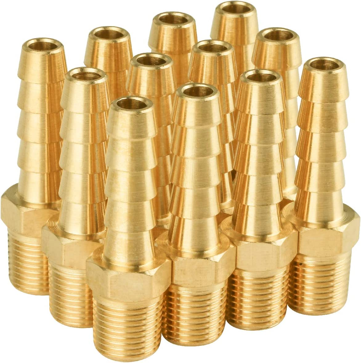 """SUNGATOR 12-Pack Brass Hose Fitting,1/8"""" NPT to 1/4"""" Barb, Hose Barb Adapter,Male Brass Pipe Fittings"""