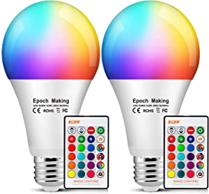 10W Color Changing Light Bulb, LED RGB dimmable Bulb with Remote Control, Equivalent to 85W 2700K Warm White, A19 E26 Screw Base, Used for Home bar Decoration Lighting (2 Pack)
