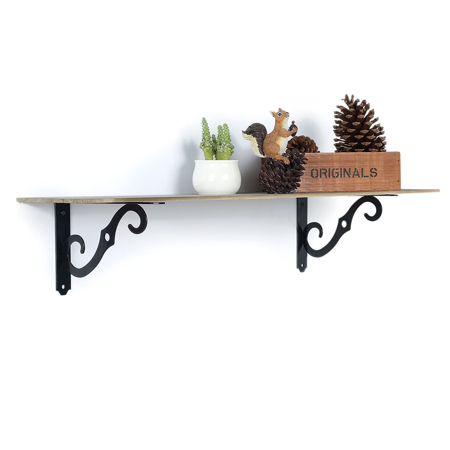 EtechMart Pack of 2 Wall Brackets Shelf Support for Storage ...