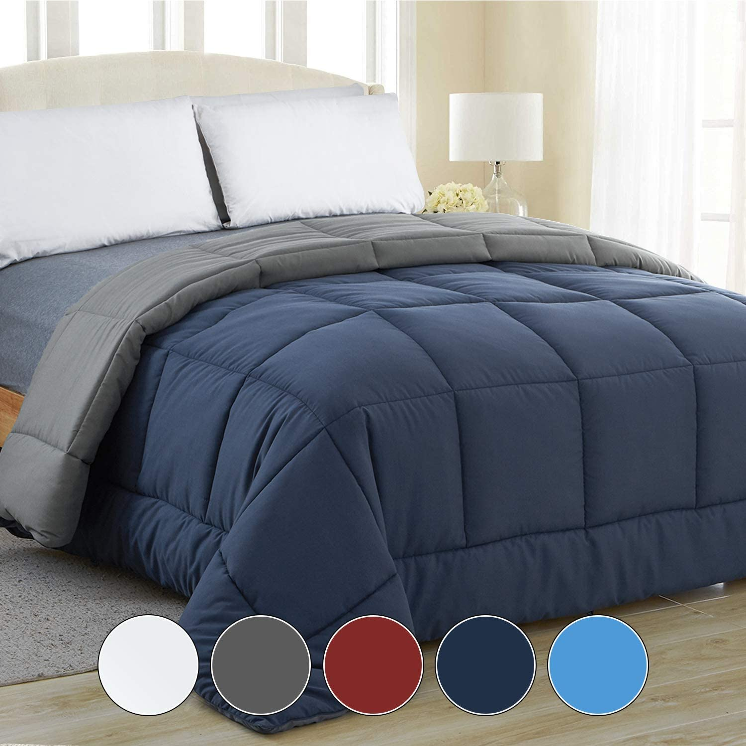 Equinox All-Season Navy Blue/Charcoal Grey Quilted Comforter - Goose Down Alternative - Reversible Duvet Insert Set - Machine Washable - Plush Microfiber Fill (350 GSM) (King 102 x 90 Inches)