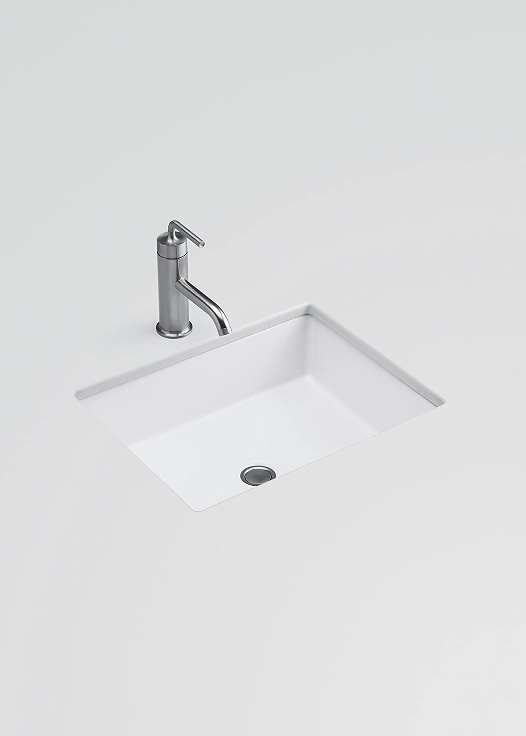 Shop kohler caxton biscuit undermount oval bathroom sink at lowes com - Kohler K 2882 0 Verticyl Rectangle Undercounter Bathroom Sink White Single Bowl Sinks Amazon Com