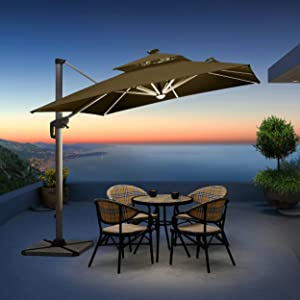 PURPLE LEAF 10 Feet Double Top Deluxe Solar Powered LED Square Patio Umbrella Offset Hanging Umbrella Outdoor Market Umbrella Garden Umbrella, Beige