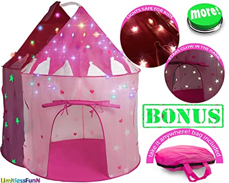 0efa94121582 Kids Play Tent with Light Princess Castle Children Playhouse Bonus Carrying  Case   Pop Up Portable Glow in The Dark Stars Pink   House for Girls Boys  Baby ...