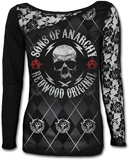 Sons of Anarchy SOA Redwood Original Allover Shoulder Lace Top Black Ladies
