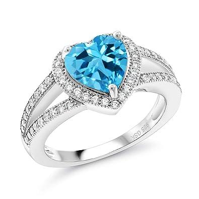 Amazon.com: 2,71 ct forma de corazón Swiss Azul Topacio ...