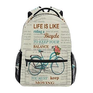 Wamika Mochila Vintage para Bicicleta, Impermeable, para la Escuela, para el Gimnasio,