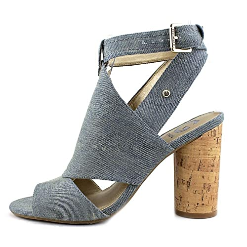 G by Guess Womens JONRA Fabric Open Toe Casual Ankle Strap Blue Size 7.0