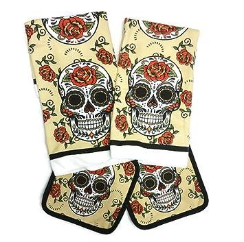 Día de los muertos azúcar calavera con aislamiento de utensilios de cocina con 2 toallas de plato y 2 salvamanteles: Amazon.es: Hogar