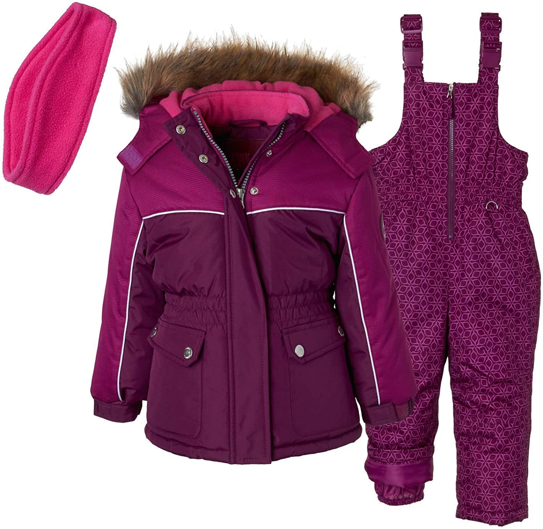 Pink Platinum Girls Geo Printed Super Snowsuit