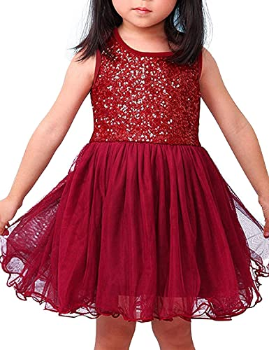 NNJXD Girl Tutu Lace Sequin Sleeveless Birthday Party Dress Size (100) 0-1 Years Red