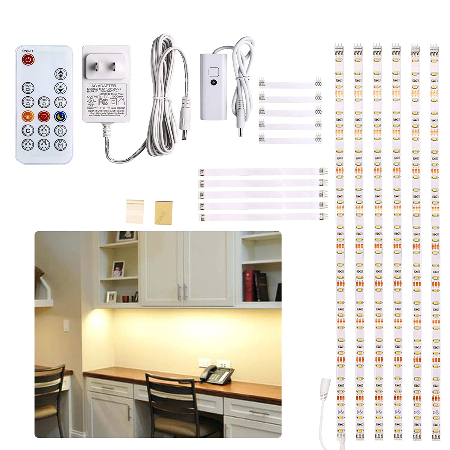 Under Cabinet LED lighting kit, 6 PCS LED Strip lights with Remote Control Dimmer and Adapter, Dimmable for Kitchen Cabinet,Counter,Shelf,TV Back,Showcase 6000K White, Super Bright 9.8 ft