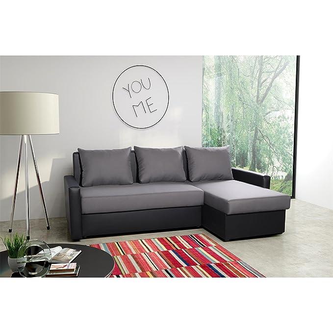 Sofá esquina sofás sofá, gris/negro, la función del sueño ...