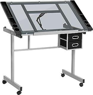 Display4top Zeichentisch Schreibtisch Architektentisch Rolltisch Glastisch Tisch mit Schubladen neigbar