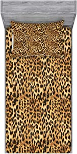 Ambesonne Brown Fitted Sheet & Pillow Sham Set, Leopard Print Animal Skin Digital Printed Wild Safari Themed Spotted Pattern Art, Decorative Printed 2 Piece Bedding Decor Set, Twin, Brown