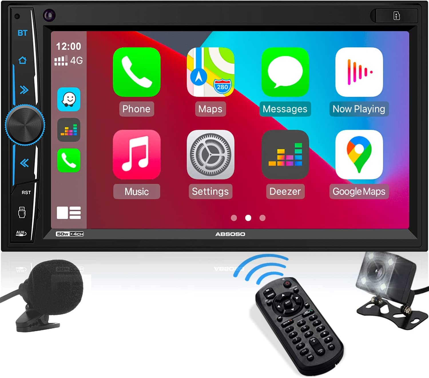 Double Din Stereo Apple Carplay: ABSOSO in-Dash Car Multimedia Player with Bluetooth, Phone Link, HD Touchscreen Monitor, Mic, Rearview Cam, A/V Input, FM/AM Car Radio, Steering Wheel