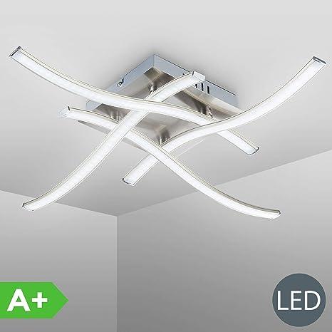 Lámpara de techo LED 4 x 3,4 W, Color níquel mate, 4 placas de luz 3000K, Lámpara de salón moderna, 230 V