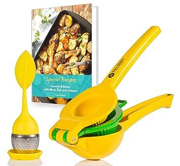 VIORE cocina exprimidor de limones w/infusor de té | Manual | mano Lime Exprimidor | incluye Ebook de recetas: Amazon.es: Hogar