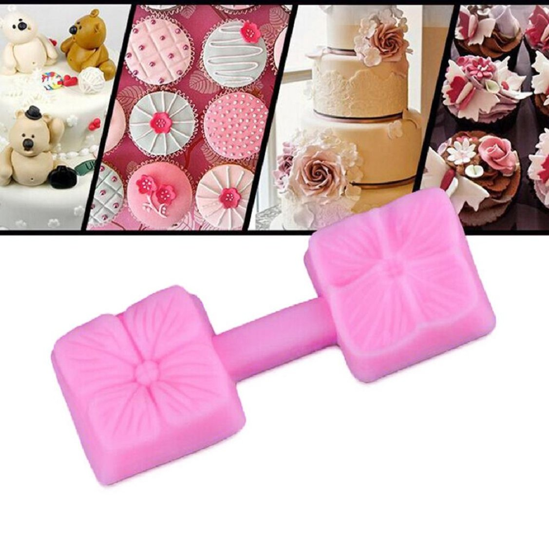 Cake Mold,Vovomay Silicone Rose Flower Fondant Cake Chocolate Sugarcraft Mould Mold Tool (A)