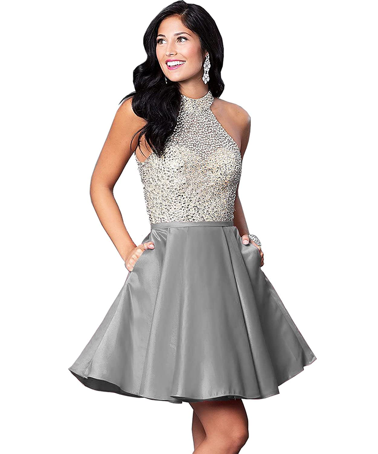 Yilis Womens Halter Beaded Bodice Satin Homecoming Dress Short Evening Party Gown with Pockets