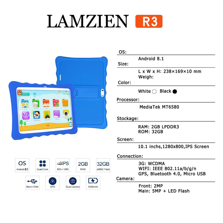Tableta 10 Pulgadas,LAMZIEN Android 8.1 Tablet Infantil,2GB ...