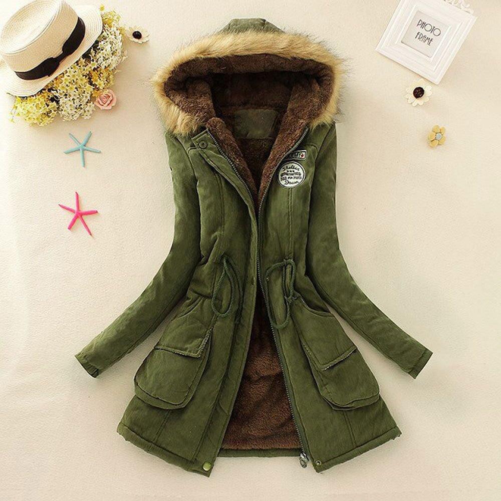 Donne da Donna Giacca Outwear di Ecologica Coulisse Calda Maniche Lunghe Caldo Inverno Allineato Piumino Imbottito Giubbino Femminile Invernali Giacche Fashion Lungo Parka