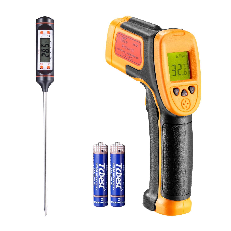 Termometro a infrarossi, per cottura / aria / frigorifero, -26 ° F ~ 1022 ° F (-32 ° C ~ 550 ° C), sonda di temperatura per termometro digitale a infrarossi per termometro laser, con termometro per carne gratuito HXYOO AS530