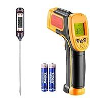 Infrarot thermometer, für Kochen/Luft / Kühlschrank, -26 ° F ~ -222 ° F (-32 ° C ~ 550 ° C), Digital-IR-Laser-Thermometer-Temperatur-Gun-Temperatur-Sonde, mit freiem Fleisch-Thermometer
