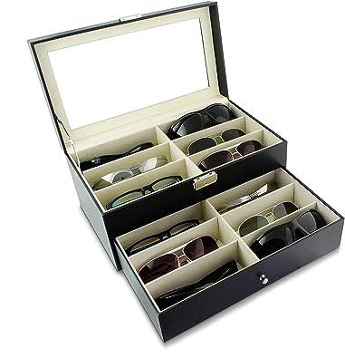 Asvert Cajas para Gafas 12 Colecciones Gafas Organizador Guardar Gafas de Sol Gafas de Lectura 33 x 19 x 15cm, Regalo,Negro: Amazon.es: Juguetes y juegos