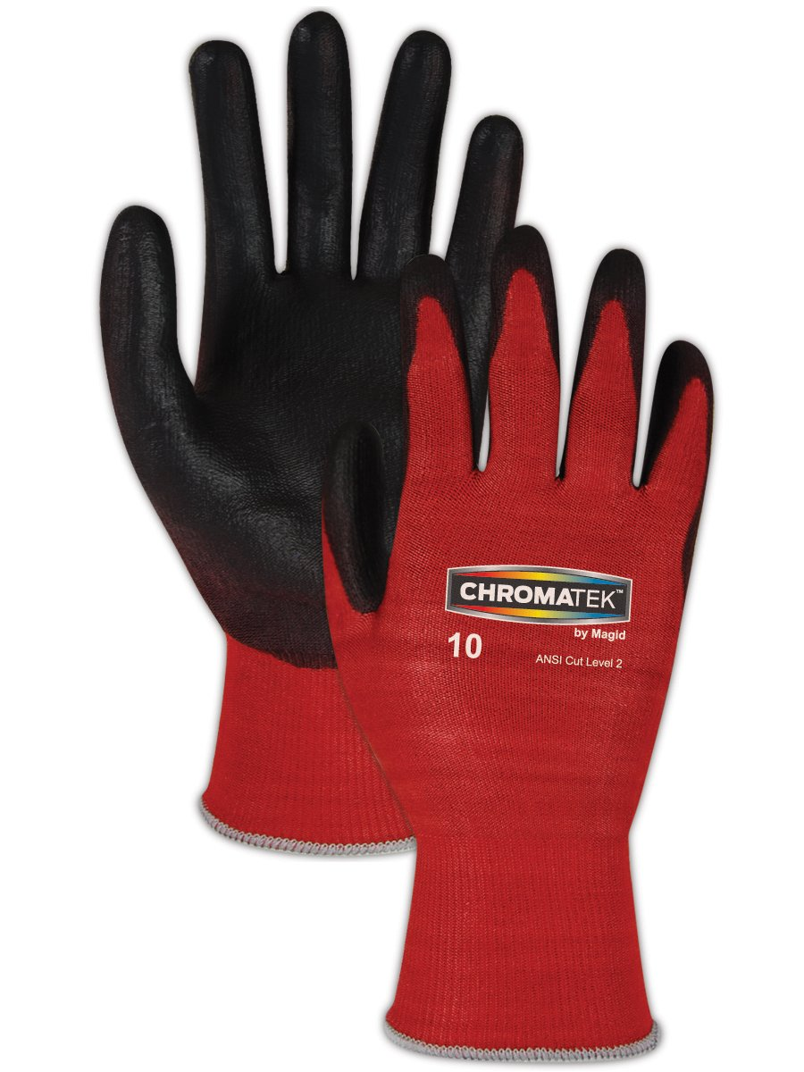 Magid CT500 ChromaTek HPPE Polyurethane Palm Coated Glove with Knit Wrist Cuff, Work, Size 10, Black/Red (Case of 12) by Magid Glove & Safety B00BAZUCHU