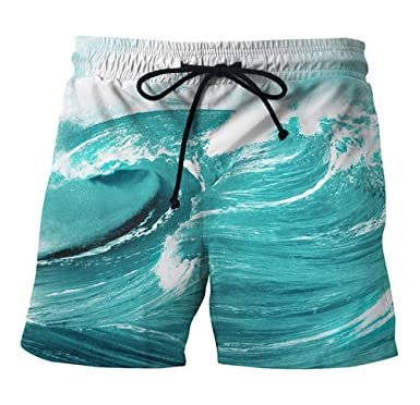 07c36d2b38 Mens Summer Board Shorts Male Swimwear Shorts Waves Print Shorts Men Quick  Dry Men's Beach Wear