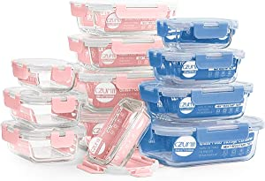 24 Piece Glass Storage Containers with Lids - 2 Color, 4 Size Glass Meal Prep Containers for food, Airtight Lunch Boxes with BPA Free Lids - Microwave, Fridge, Freezer, Dishwasher, Oven Safe