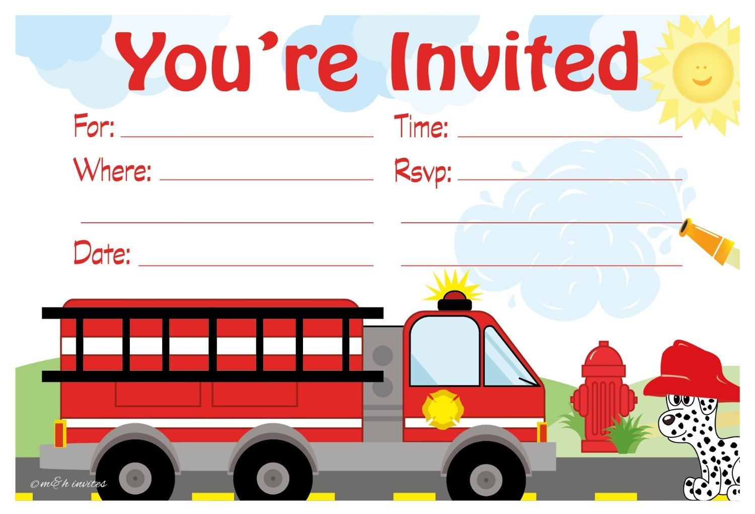 Firetruck Birthday Party Invitations - Fill In Style (20 Count) With Envelopes by m&h invites