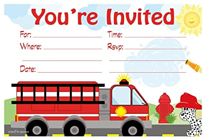 Amazon Com Firetruck Birthday Party Invitations Fill In Style 20