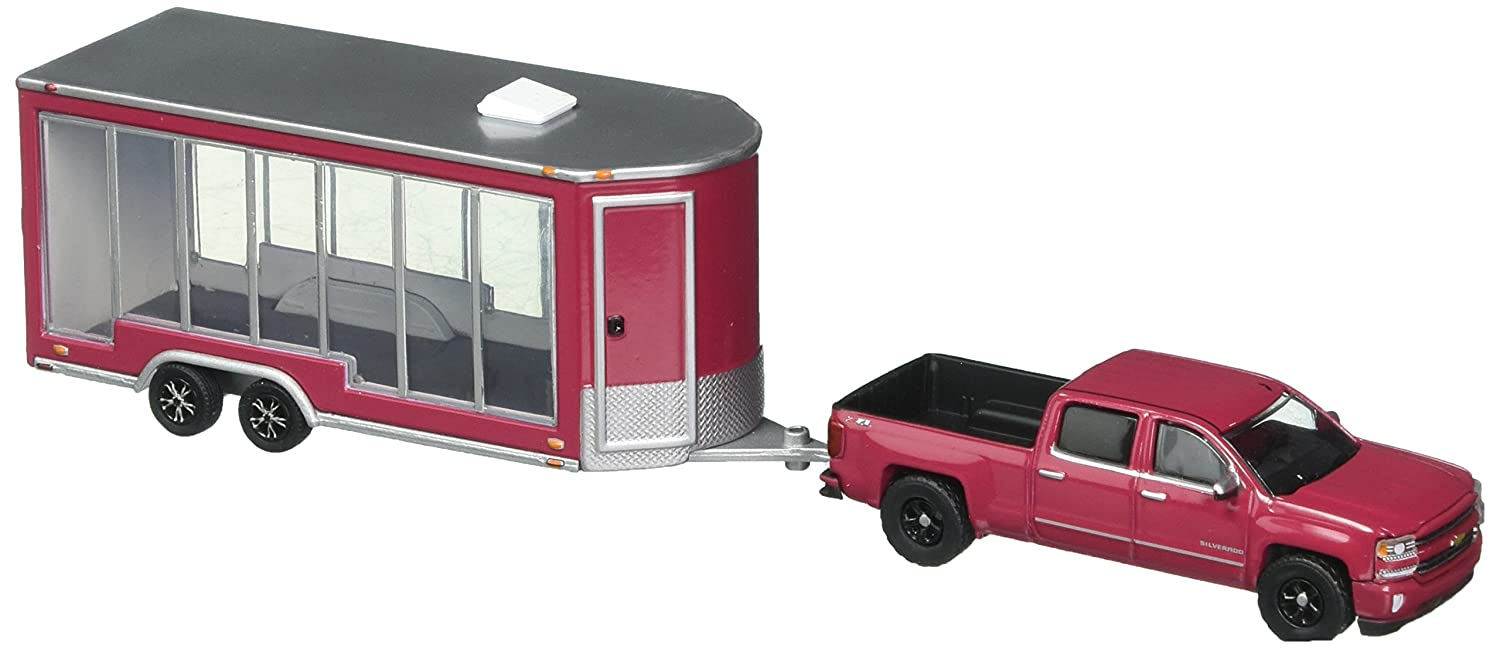 Greenlight 1 64 Hitch Tow Series 12 2016 Chevrolet Silverado and Glass Display Trailer