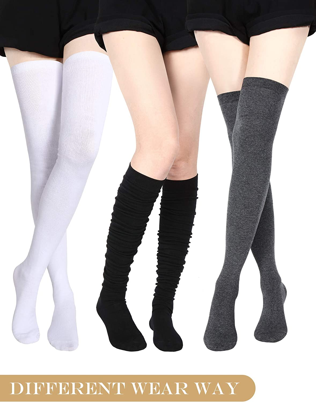 SATINIOR Calze Extra Lungo Coscia Alta Calze di Cotone Extra Lunghe Calze Stivali per Ragazze Donne