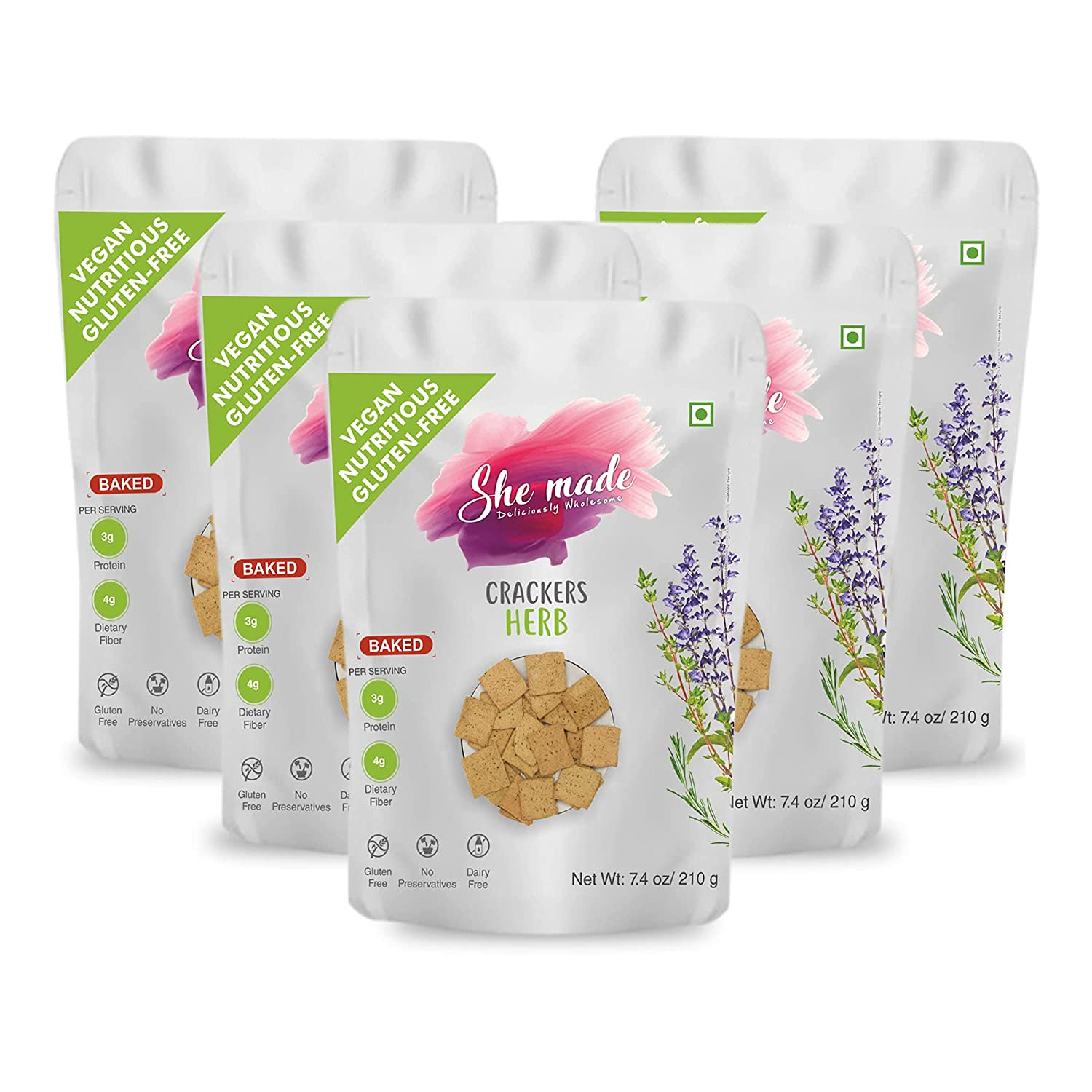 She Made Foods Grain Free, Paleo, Vegan Crackers, Mixed Herb Flavored - Low Carb, Gluten Free, Almond Flour Crackers - Healthy Snack, Tasty Gourmet Food, Pack of 5 (7.4 ounces each)