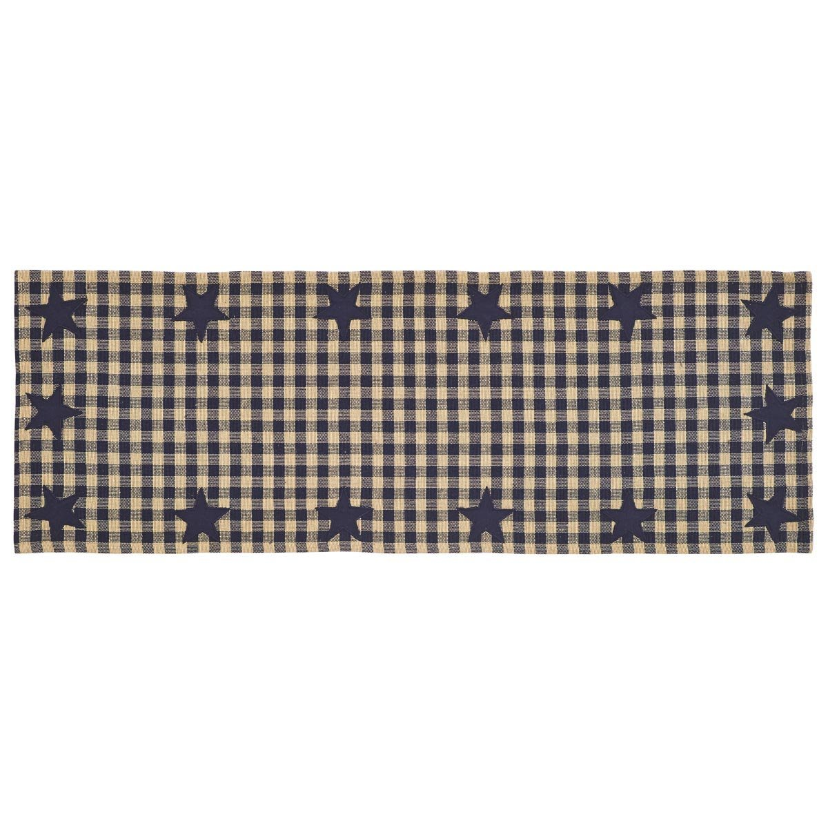 VHC Brands Classic Country Primitive Tabletop & Kitchen - Star Blue Woven Runner, Navy, 13'' x 36''