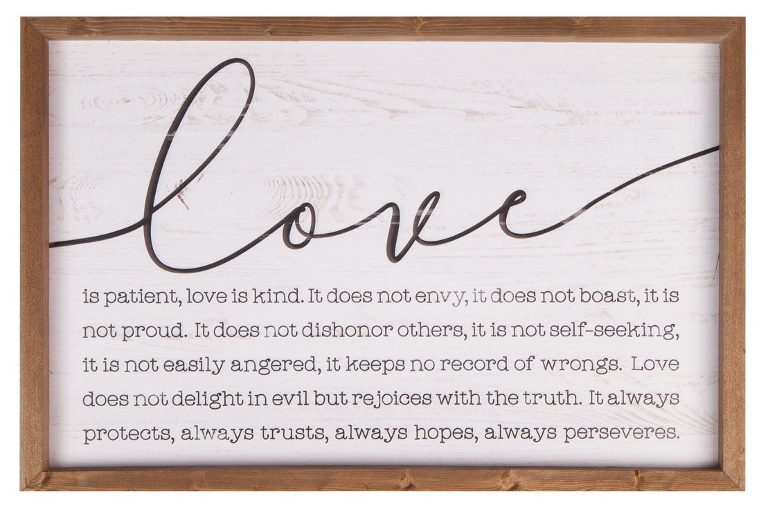 P. Graham Dunn Love is Patient Kind 24.5 x 16 Wood Farmhouse Frame Wall Plaque by P. Graham Dunn