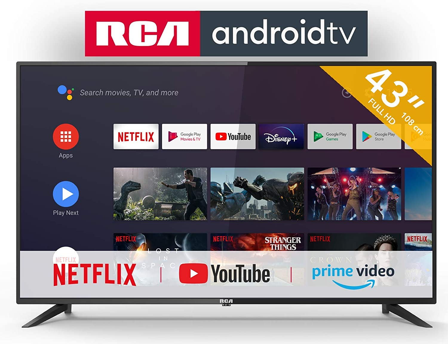 RCA RS43F2 Android TV (43 Pulgadas Full HD Smart TV con Google Assistant), Chromecast Incorporado, HDMI+USB, Triple Tuner, 60Hz: Amazon.es: Electrónica