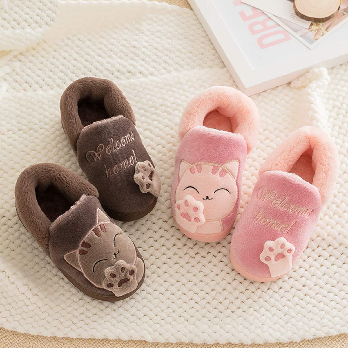 Kids Boys Girls Winter House Warm Plush Soft Slippers Children Cute Cartoon Shoes Anti-Slip Home Comfort Womens Mens Slippers