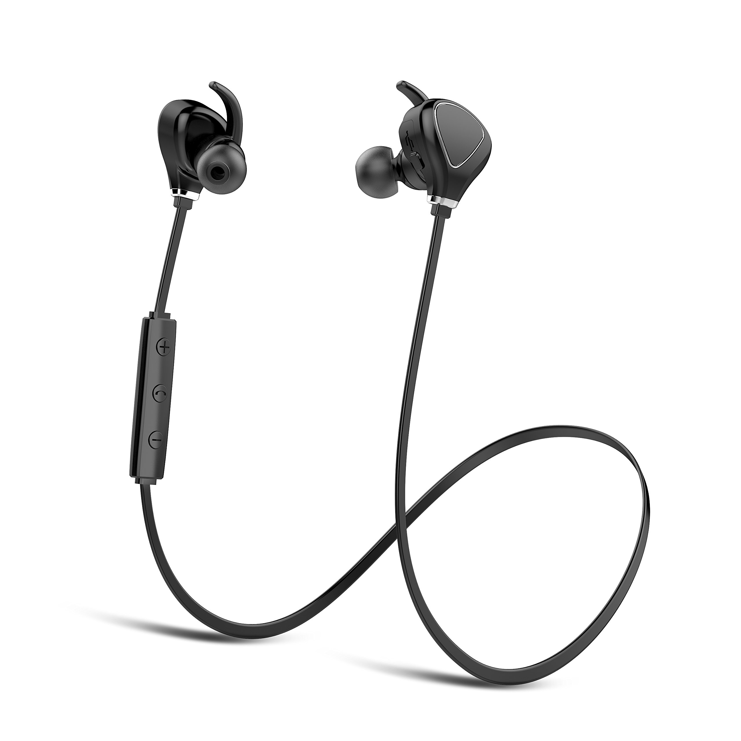 YUWISS Wireless Headphones Bluetooth Running Headphones Workout Headphones Cordless in Ear Earbuds with Mic Stereo Sweatproof Sport Earphones for Running Gym 8 Hours Battery Life (Black)