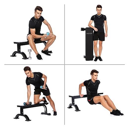 Ancheer soporte de peso banco de pesas entrenamiento gimnasio en casa, negro: Amazon.es: Deportes y aire libre