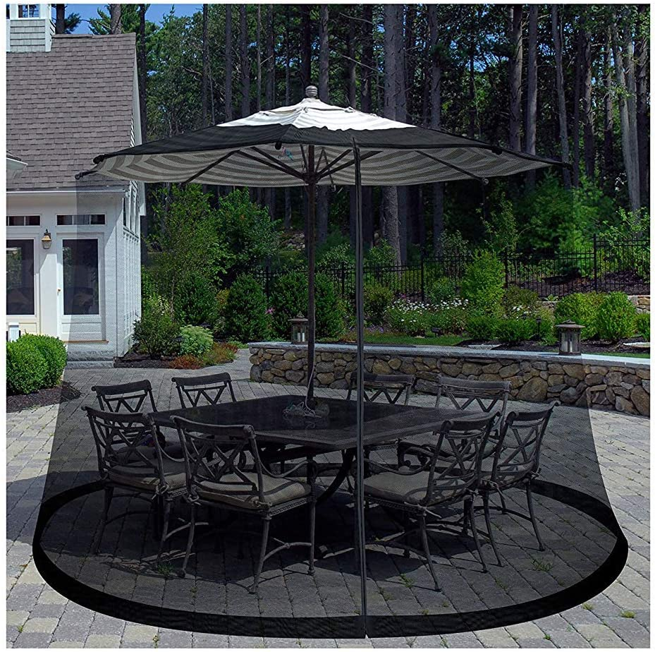 Patio Umbrella Cover Mosquito Netting Screen for Patio Table Umbrella, Garden Deck Furniture- Zippered Mesh Enclosure Cover by Pure Garden : Garden & Outdoor