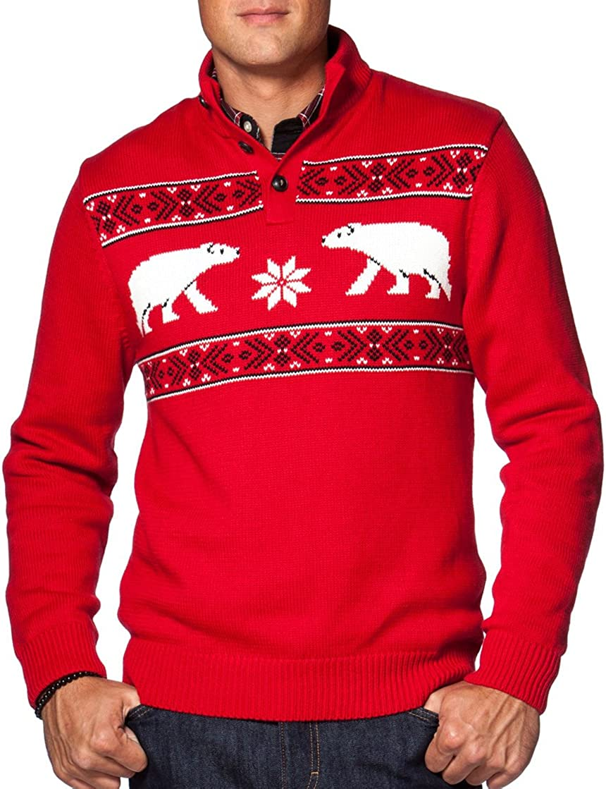 Chaps Mens Classic-Fit Polar Bear Quarter 3-Button Sweater Chaps Red