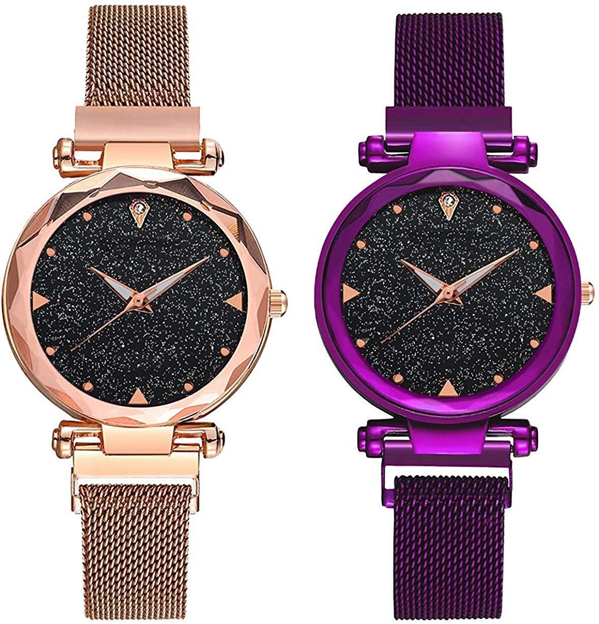 KDENTERPRISE Casual Designer Black Dial Combo of Magnet Watch - Pair of 2 - for Girls & Women - Purple-Copper (B083475CLZ) Amazon Price History, Amazon Price Tracker