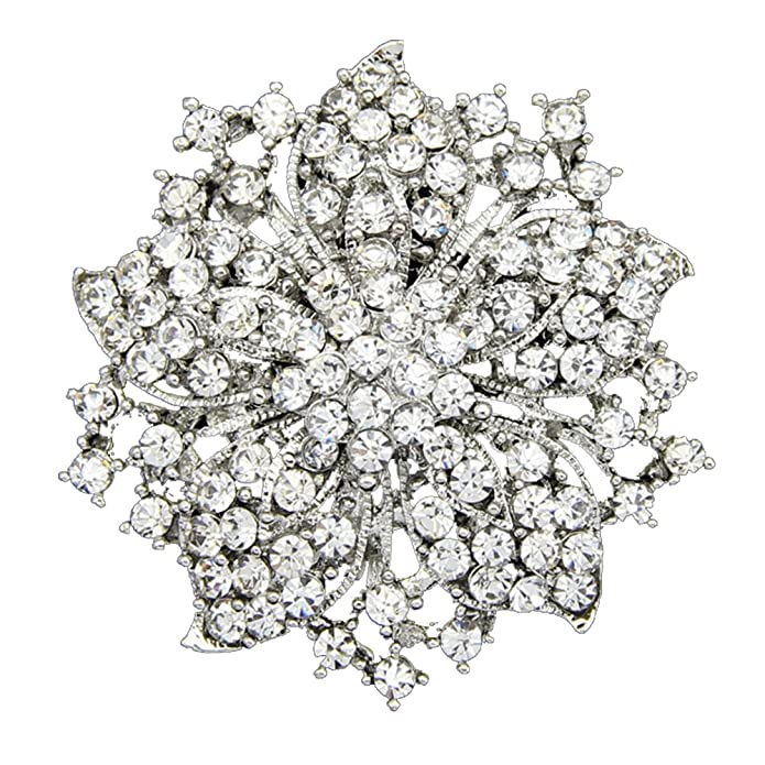 Vintage Style Jewelry, Retro Jewelry Danbihuabi Silver/Gold Plated Vintage Crystal Rhinestone Brooch Pin 7 Colors $8.98 AT vintagedancer.com
